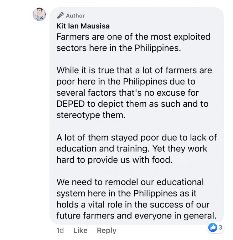 6 Screen captured from Kit Ian Mausisas comment on his Facebook post. 744x767 - Module of a grade three pupil showing a family of a farmer in torn clothes received criticisms from the public